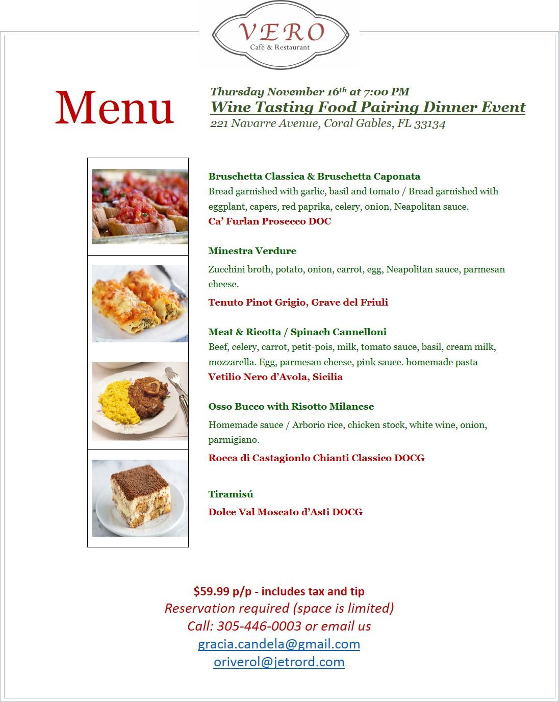 Wine Tasting Food Pairing Dinner Event